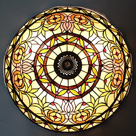 16-Inch European Retro Style Tiffany Flourishing Flower Stained Glass Flush