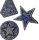 b2see Strass Glitzer Sterne Aufnäher Patches Applikationen mit Glitzer Strass Sterne zum aufbügeln 3 er Set Strass in blau Tönen