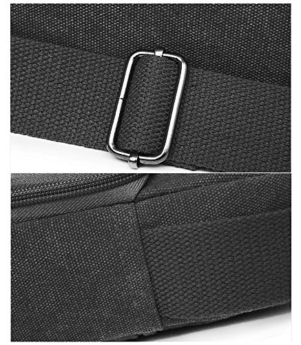 EssVita Vintage Umhängetasche Männer Retro Kleine Leinwand-Cross Body Handtasche Schultertasche Schwarz Schwarz