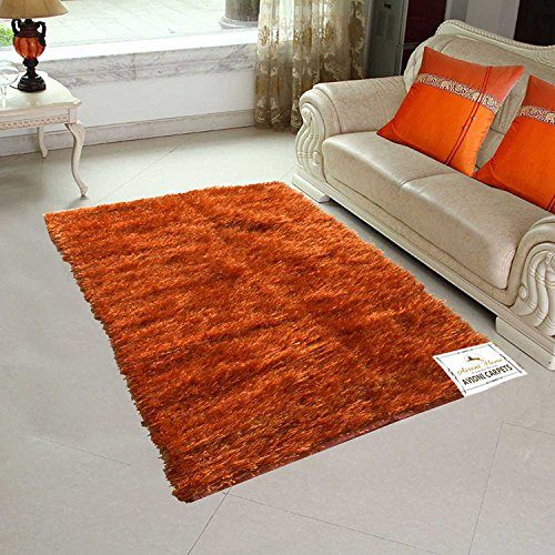 Avioni Handloom Rugs For Living Room In Fur Reversible Multicolor Orange -3 Feet X 5 Feet
