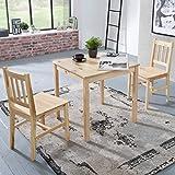 FineBuy Esszimmer-Set Emilio 3 teilig Kiefer-Holz Landhaus-Stil 70 x 73 x 70 cm | Natur Essgruppe 1 Tisch 2 Stühle | Tischgruppe Esstischset 2 Personen | Esszimmergarnitur massiv