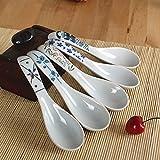 Xytmy cucchiaio da minestra in porcellana dipinta a mano fiore manico cinese/asiatica riso cucchiaio antipasto tableware-set di 5.