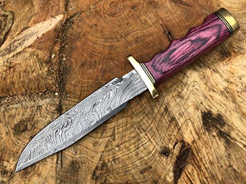 Perkin Knives Damasco Cuchillo de Caza de Acero Hecho a Mano Cuchillo de Hoja Fija - AR601, Red Wood Handle and Brass Guard