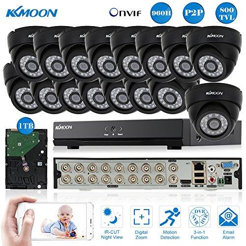 Digital Recorder Security Video (KKMOON 16CH Voll 960H/D1 800TVL CCTV Überwachung DVR Security System HDMI P2P Cloud Onvif Netzwerk Digital Video Recorder + 1 TB Festplatte + 16 * Indoor Infrarot-Dome-Kamera + 16 * 60ft Kabel)