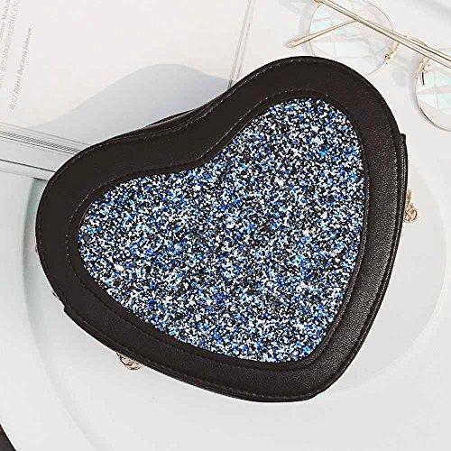 Longra Donna Sacchetti a spalla a forma di cuore Blu