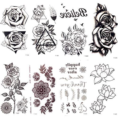 MRKAL Schwarz Dreieck Rose Blume Temporäre Tätowierung Sommer Feder Vögel Tattoo Aufkleber Frauen Party Wasserdichte Tatto Mädchen Körper Arm Kunst 10,5X6 cm