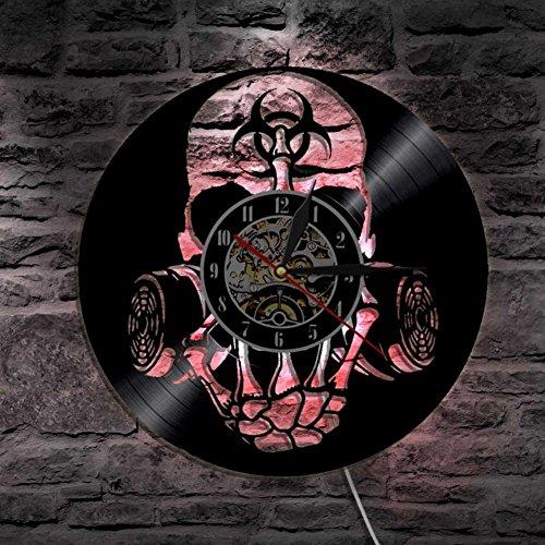 fährdung Zombie Gas Maske Schädel Vinyl Uhr Led Mauer Licht Fern Steuerung Modern Kunst Hintergrundbeleuchtung Leben Zimmer Innere ()
