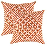 TreeWool, (2 Pack) Cushion Covers Kaleidoscope Accent in Cotton Canvas (45 x 45 cm, Orange & White)