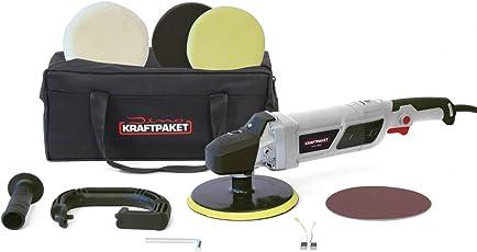 Dino KRAFTPAKET 1500W Rotations Poliermaschine 12-Stufig mit LCD-Display und Memory-Funktion im Set mit Polierschwamm Polierfell Polierteller Tasche für Auto KFZ Boot Heimwerker