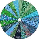 Grannycrafts 20 Stück 11,8x7,87 Zoll (30x20cm) Oben Baumwolle Gedruckt Craft Stoff Bundle Squares Patchwork Fusseln Print Tuch Stoff Tissue DIY Nähen Scrapbooking Quilten Grün