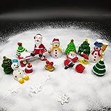 Emien 26pezzi di Natale in miniatura kit set per DIY Fairy Garden decorazione per casa delle bambole, bianco sabbia, Babbo Natale, alberi di Natale, pupazzo di neve, fiocco di neve, rosso calzini, bell, borsa, luna, Bench