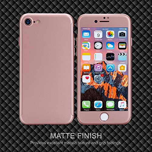Custodia iPhone 6 Full Body Ultra Sottile Morbido TPU Protettiva Cover Case + Vetro Temperato Proteggi Schermo 3 in 1 Design Front & Indietro Caso&Vetro Film Lusso Protezione Completa iPhone 6s Plus oro rosa