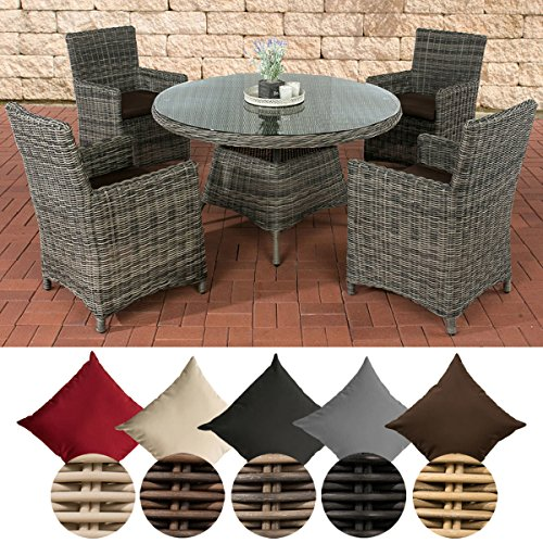 CLP Polyrattan-Sitzgruppe PINELLA mit Polsterauflagen | Garten-Set bestehend aus einem Esstisch und vier Gartenstühlen | In verschiedenen Farben erhältlich Bezugfarbe: Terrabraun, Rattan Farbe grau-meliert