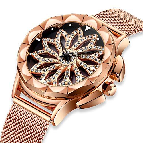 Damenuhren Damen Wasserdichte Roségold Mesh Uhr Einzigartiges Design Analoge Quarz Armbanduhren für Frauen Edelstahlband Luxus Business Kleid Uhren mit Drehendes Diamant Zifferblatt