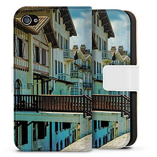 Apple iPhone X Silikon Hülle Case Schutzhülle Fachwerkhäuser Gebäude Brücke Sideflip Tasche weiß