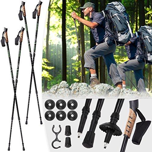 Mountaineer Nordic Walking Stock verstellbar   Wanderstöcke für den Fitness Sport   Trekkingstöcke   von 70 bis 135 cm   Schwarz   2er Set