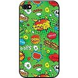 Comic Action à bulles adjectif Papier peint Coque rigide pour téléphone portable, plastique, Green Comic Action Bang Pow, Apple iPhone 4S / 4