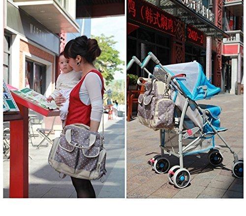 Multifunktions Polka Dot Windel Tragetaschen Baby Wickeltasche, Sets Größeres Fassungsvermögen Mama Handtasche Rucksack Schultertasche 3Tragevarianten, beige (Blau) - ZLNBK01 beige