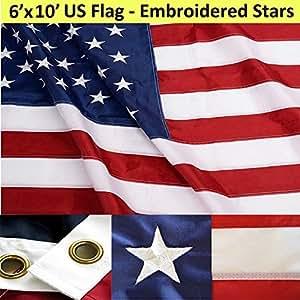 Amerikanische Flagge, Baumwolle, 6 X 10'