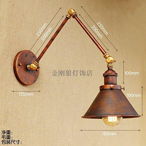 Apliques de hierro balancines Restaurante Loft es larga vida del brazo telescópico de antigüedades eólica industrial lámpara de mesilla, en forma de embudo de color óxido de hierro bajar 20+20 CM.