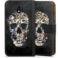 Samsung Galaxy J3 Duos 2017 Tasche Leder Flip Case Hülle Vintage Skull Totenkopf Schädel