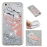 Shinyzone Glitzer Flüssigkeit Hülle für iPhone 6S/iPhone 6,Marmor kreativ 3D Gemalt Muster Handyhülle,Bling Treibsand Liebe Herz Fließend Weich TPU Schutzhülle