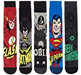 DC Comics Superhero Mens 3 Pack, 5 Pack and 8 Pack Ribbed Socks Featuring Justice League Heroes Batman, Superman, Robin, Flash and Green Lantern - Size UK6-11 (5 Pack SuperHero)
