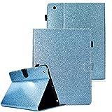 QC-EMART Coque pour iPad 2/3/4 Étui à Rabat en PU Cuir Bleu Glitter Antichoc Case Housse de Léger Protection Magnétique et Mise en Veille Automatique Fonction Tablette Smart Cover