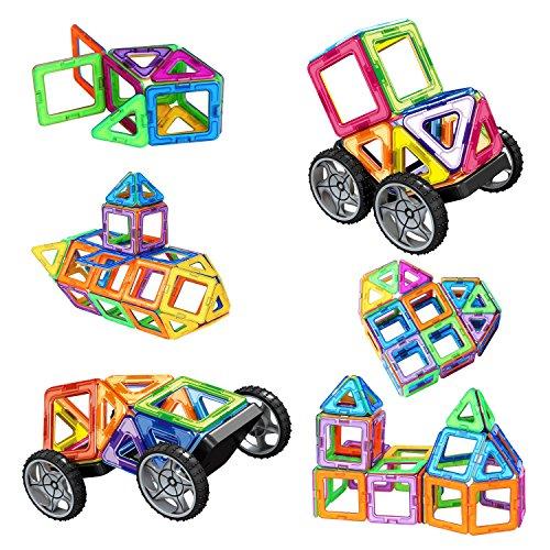 Bloques de Construcción Magnéticos, Amztronics Magnéticos Construcciones Imantados Magnéticas 39 Piezas Juegos de Construcción Para La Educación Del Niño de Los Ladrillos de Construcción Juguetes Ferris Wheel y Bolsa de Almacenamiento Incluida