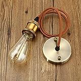 KINGSO E27 Lampenfassung Kupfer Vintage Retro Antike Edison Pendelleuchte Hängelampe Halter Lampe Zubehör mit 1 Meter Kabel Messing matt