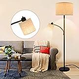Depuley E27 Lampadaire Chambre Abat-jour avec Liseuse de Lecture, Lampe sur Pied Salon Moderne en Métal Noir, Design Classiqu