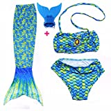FITTOO Mädchen Meerjungfrau Badeanzug mit Schwimmflossen Cosplay Kostüm Badebekleidung 3pcs