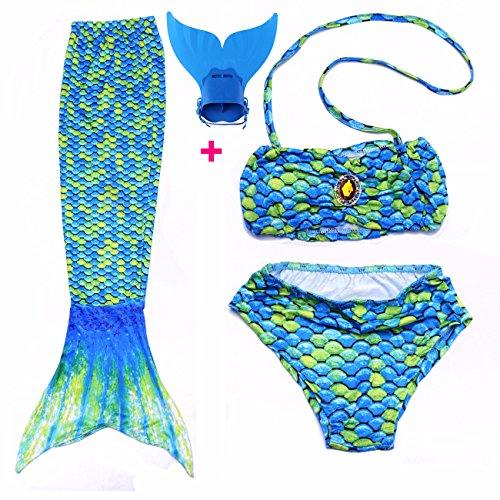 FITTOO Mädchen Meerjungfrau Badeanzug mit Schwimmflossen Cosplay Kostüm Badebekleidung 3pcs Bikini Sets Grün M
