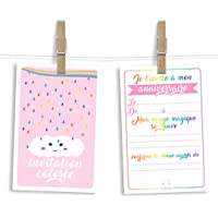 6 cartes et enveloppes invitation anniversaire | Anniversaire fille ou garçon | Thème Arc en Ciel