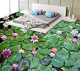 Yosot Tapete 3D Bodenbelag Lotus 3D Boden Malerei Wand Schlafzimmer Wohnzimmer Lobby Adhesive Vinyl 3D Boden Wandbild-140cmx100cm