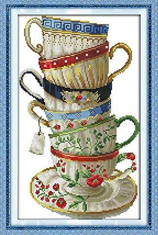 YEESAM ART Neu Kreuzstich Stickpackung - Elegant Kaffee Tasse 14 CT 28×42 cm DIY Stickerei Set Weiß Segeltuch - Kreuz Nähen Handarbeit Weihnachten Geschenke Cross Stitch (Designer Christmas Tree Topper)