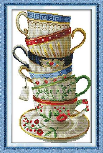 YEESAM ART Neu Kreuzstich Stickpackung - Elegant Kaffee Tasse 14 CT 28×42 cm DIY Stickerei Set Weiß Segeltuch - Kreuz Nähen Handarbeit Weihnachten Geschenke Cross Stitch (Christmas Tree Star Topper Wars)