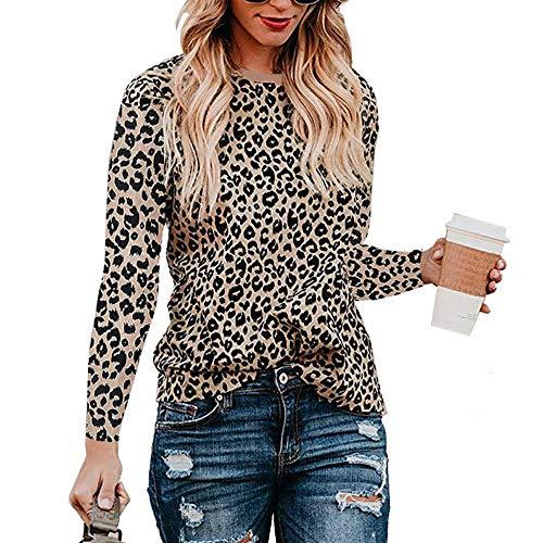 Mujeres Camisas Estampado Leopardo Cuello Redondo Casual de Manga Larga Blusas Tops Camiseta (XL, Marrón)