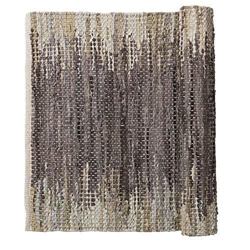 Weave Natur Braun/Beige gewebt Leder/Baumwolle Läufer Teppich 80x 250