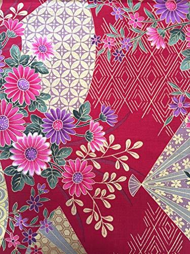 Japanischer Kimono bedruckter Stoff, japanisches traditionelles Pattarn, für Handarbeit, berühmt für asiatische Lungi 43 X 79 inch Red fan