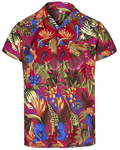 Redstar Fancy Dress - Herren Hawaiihemd - kurzärmelig - Dschungelmotiv - Verkleidung Junggesellenabschied - alle Größen - Pink - XXL