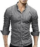 Merish Camicia Uomo, a scacchi, Slim Fit, Camicia classiche, 4 Colori Taglia S - XXL Modell 48 Nero L