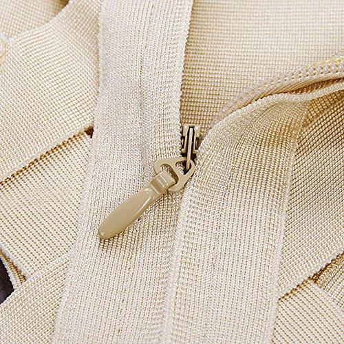 HLBandage 3 Teiliges Set Lattice Höhlen Heraus Reine Farben Verband Kleid Beige