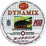 WFT Round Dynamix Barsch red 150m, geflochtene Schnur fürs Barschangeln, Raubfischschnur, rote Angelschnur, Durchmesser/Tragkraft:0.10mm / 8kg Tragkraft