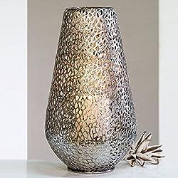 """STIMMUNGSVOLLES BODENWINDLICHT """"PLATA"""" aus Metall Kerzenhalter Windlicht 46cm hoch antiksilber"""