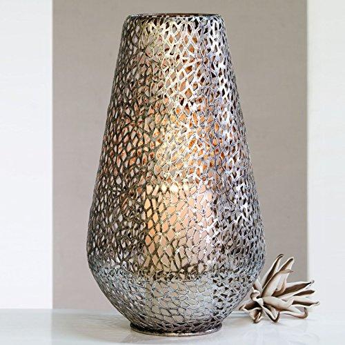 STIMMUNGSVOLLES BODENWINDLICHT Plata aus Metall Kerzenhalter Windlicht 46cm hoch antiksilber