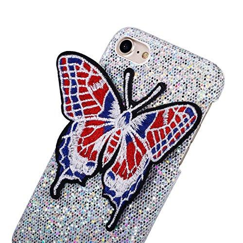 Coque iPhone 6S,Étui iPhone 6S,Coque iPhone 6,Étui iPhone 6,ikasus® Coque iPhone 6 / 6S Hard Étui Housse Téléphone Couverture Hard avec Modèle de diamant brillant Handcraft 3D Papillon brodé Modèle Ul Argent