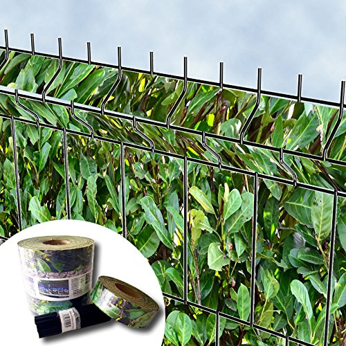 Bedruckter Zaun Sichtschutz Streifen für 3D Gitterstabmatten - PVC frei (Kirschlorbeer)