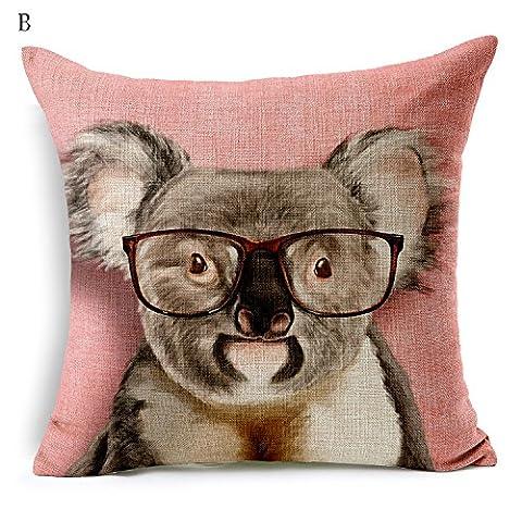 Flashing-cute Dessin animé Animal Taie d'oreiller Salon avec canapé Coussins de chevet Bureau des systèmes de fluides Lin Taie d'oreiller 45,7x 45,7cm