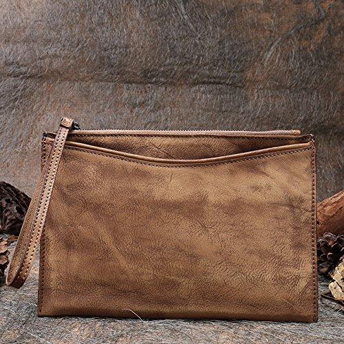 Nouveau cuir faits à la main en cuir vintage d'origine atmosphérique simple sac sac à main enveloppe Brown